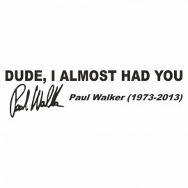 Dude i almost had you Paul Walker