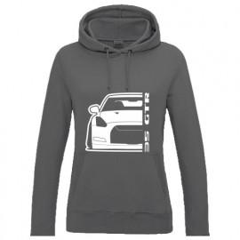 Nissan 35 GTR Outline Modern Hoodie Lady