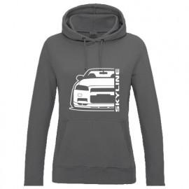 Nissan Skyline R34 GTR Outline Modern Hoodie Lady