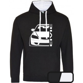 Honda Civic EM 2 Facelift Outline Modern Hoodie Varsity