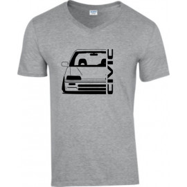 Honda Civic EC Outline Modern V-Neck