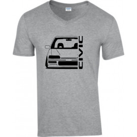 Honda Civic EE 9 Outline Modern V-Neck