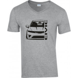 Honda Civic FN Outline Modern V-Neck