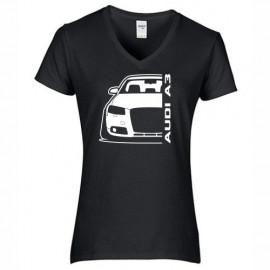Audi A3 8P Outline Modern V-Neck Shirt Lady