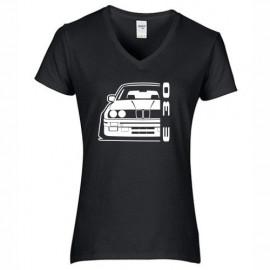 Bmw E30 Outline Modern V-Neck Shirt Lady