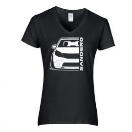 Dacia Sandero 2008 Outline Modern V-Neck Shirt Lady
