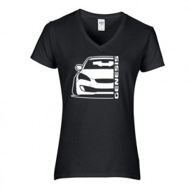 Hyundai Genesis Coupe Outline Modern V-Neck Shirt Lady