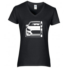 Hyundai I30 GD 2011-2017 Coupe Outline Modern V-Neck Shirt Lady