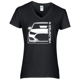 Hyundai Veloster 2019 N Outline Modern V-Neck Shirt Lady