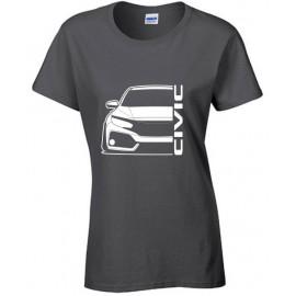 Honda Civic FK 2017-2018 Outline Modern T-Shirt Lady