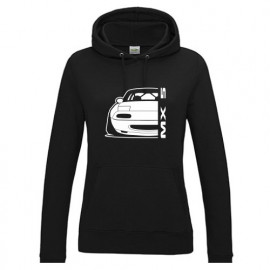 Mazda MX5 Outline Modern Hoodie Lady