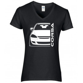 Opel Corsa D Diesel Outline Modern V-Neck Lady