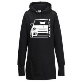 Fiat Abarth 595 2019 Outline Modern Hoodie Lady Longline