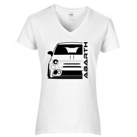 Fiat Abarth 595 2019 Outline Modern V-Neck Shirt Lady