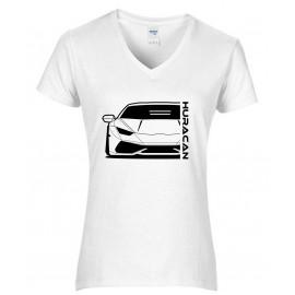 Lamborghini Huracan Outline Modern V-Neck Shirt Lady