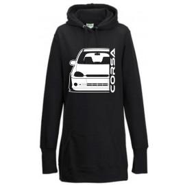 Opel Corsa B GSI Outline Modern Hoodie Lady Longline