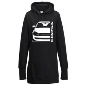 Opel Corsa C Outline Modern Hoodie Lady Longline