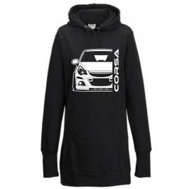 Opel Corsa D OPC Outline Modern Hoodie Lady Longline