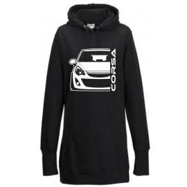 Opel Corsa D Outline Modern Hoodie Lady Longline