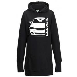 Opel Corsa D Diesel Outline Modern Hoodie Lady Longline
