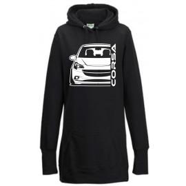 Opel Corsa E Outline Modern Hoodie Lady Longline