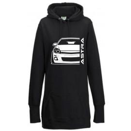 Opel Astra H Modern Outline Hoodie Lady Longline